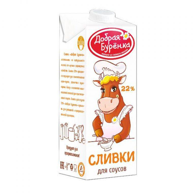 Сливки 22% Добрая буренка,1 л (12 шт/кор)
