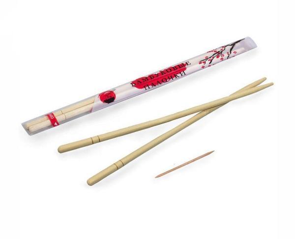Палочки бамбук с зубочисткой круглые, 21 см проз/уп (1 уп/100 шт/30шт/кор)