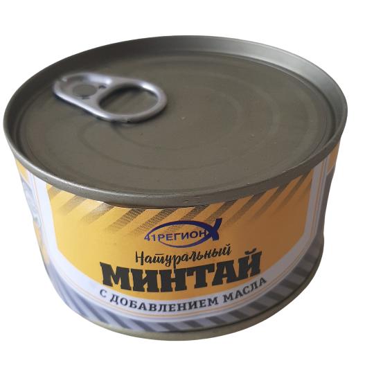 Минтай  натур. с добавлением масла  ж/б / 180 гр. (24 шт/ кор) изображение 1